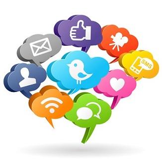SSocial listening clouds of social media company logos