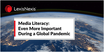 An aerial view of Earth with an overlay: Media Literacy: Even More Important During a Global Pandemic