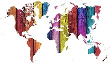 Multi-coloured map of the world