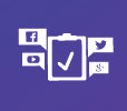 Social media company icons around clipboard