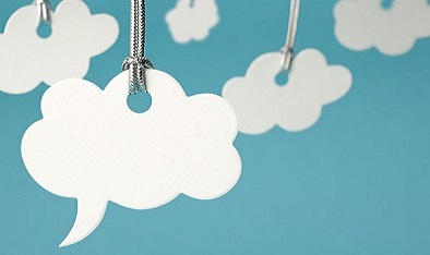 Hanging speech bubble clouds