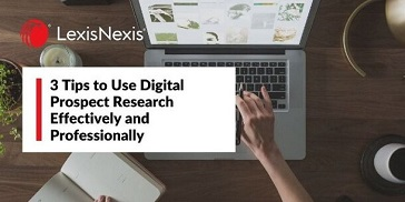 """Worker with a notebook out and actively searching on her laptop in a browser. """"3 Tips to Use Digital Research Effectively and Professionally"""""""