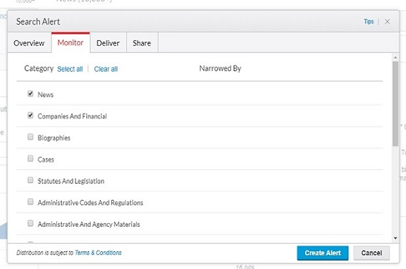 Nexis research alerts provide real-time competitive intelligence updates